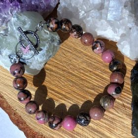Rhodonite Healing Bracelet with Silver Toggle Clasp